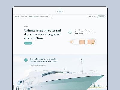 Seafair corporate website occasions event spaces weddings miami company branding ui events vessel luxury landing website corporate