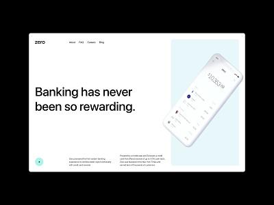 Zero Bank (Free Template) color website branding minimal hero image cover first screen ui grid typography
