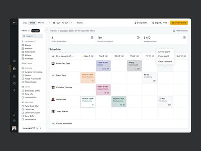 NewwaveShifts | Schedule calendar schedule dashboard ui interface