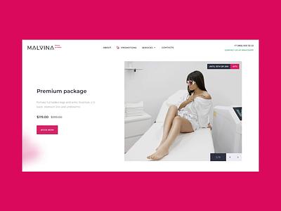 Malvina Beauty firstscreen branding digital art design ui logo color agency company fashion rose hairremoval beauty animation interaction uiuxdesign webdesign
