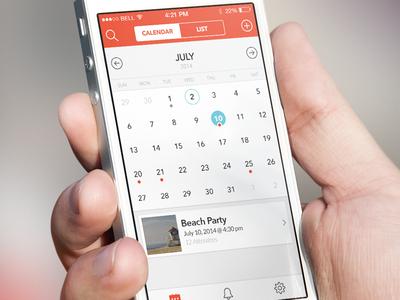 Calendar app - coming soon mockuuups calendar ios ios7 ios8 ui blue red tabbar icons iphone events