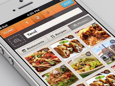 Choose a Photo ui photo grid tabs header orange input proxima nova icons ios app