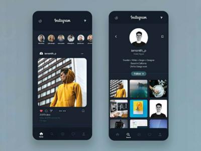 Instagram Dark theme + Redesign
