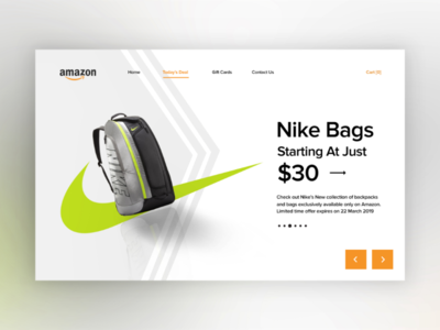 Nike Bags (today's deal) web design