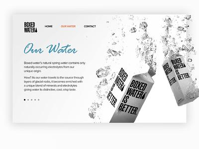 Boxed Water website design ui ux design website logo