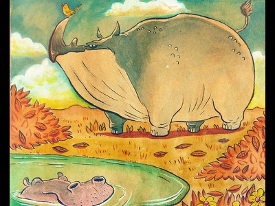 Grumpy Rhino - Happy Hippo illustration watercolor hippo rhino bird hippopotamus rhinoceros sketchbook