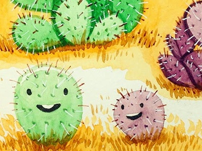 Green and Purple Prickly Pear Cactus illustration prickly pear cactus sketchbook watercolor