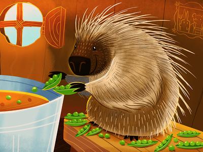 Porcupine and Peas  illustration photoshop porcupine peas