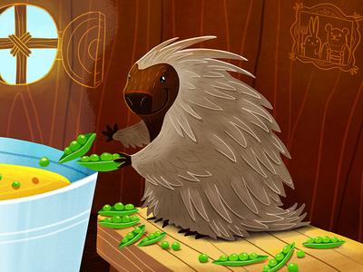 Porcupine and Peas Round 2 illustration porcupine photoshop peas