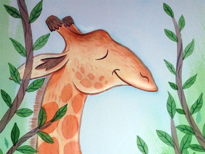 Lovely Day for a Stroll illustration watercolor giraffe