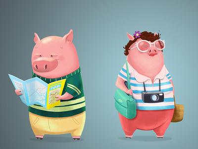 Traveling Piggies concept photoshop illustration pig travel tourist