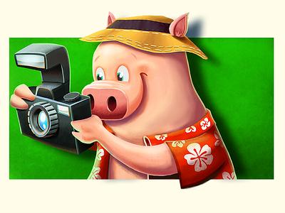 Piggie with Camera illustration pig tourist photoshop concept
