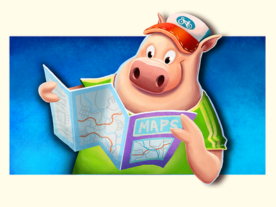 Piggie with Map illustration pig tourist photoshop concept map
