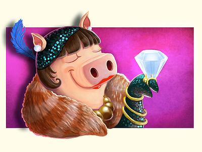 Rich Piggie illustration pig tourist photoshop concept rich diamond