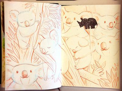 Koalafornia! illustration koala sketchbook pencil