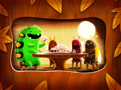 November Nom Noms november caterpillar bumblebee bee leaves autumn fall insects bugs photoshop illustration