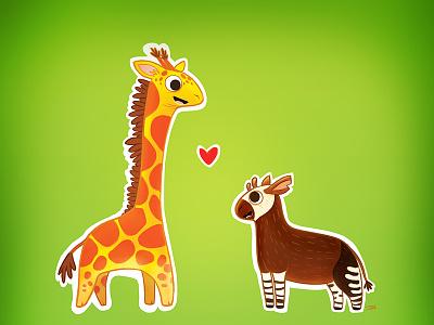 Giraffids african wildlife wildlife thehorsepuppy horsepuppy joe feliciano tshirt tshirt design photoshop illustration okapi giraffe giraffid