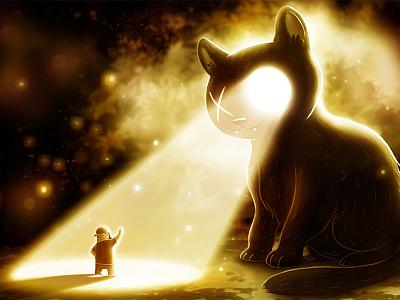 General Bonkers light general bonkers black cat cat illustration photoshop