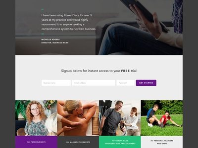Footer and Sign up