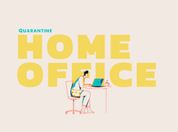 Home Office typography drawing graphic design graphics computer office workspace work home office character animator character design quarantine covid-19 covid animation vector illustration