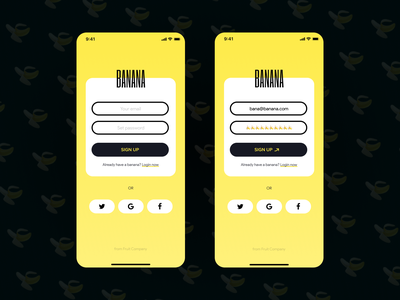 Banana app sign up concept fruit concept ttweeklyui dailyui ui