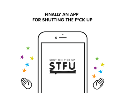 STFU Vibez app ios stfu chat hand bold simple white black icon logo