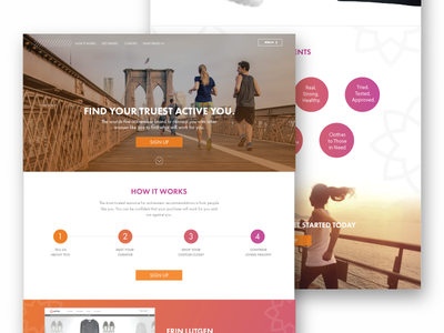 Active Homepage landing page web design website exercise active