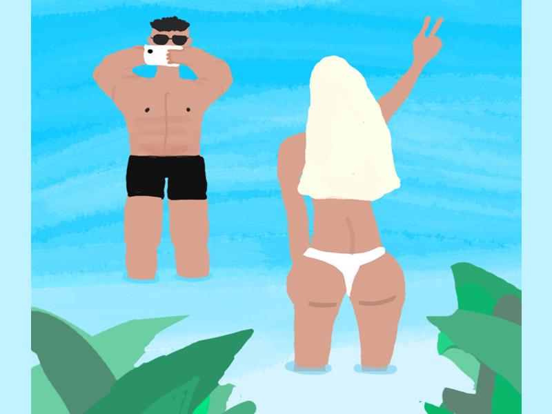 plz take pics for me,honey travel sexy girl beach lifestyle illustration design