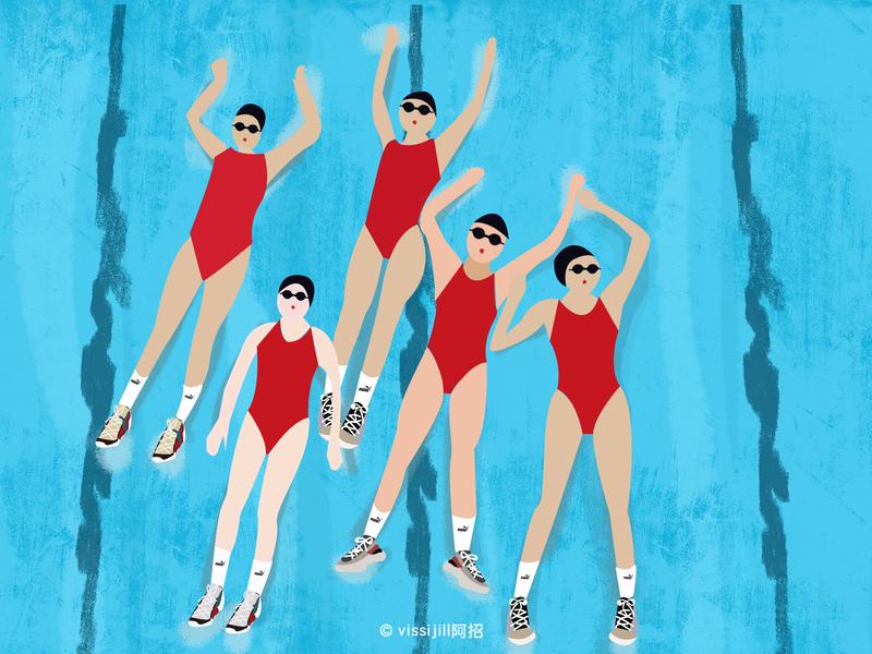 puma team illustrator puma art sports swimmers swiming stylist ootd fashion design illustration