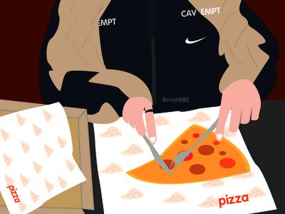 pizza boy lifestyle cavempt nike pizza food artwork design illustration