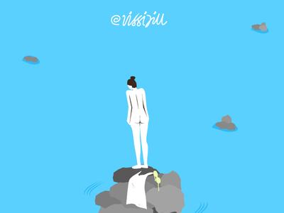 jump girl blue sea jump art graphic design artwork illustration