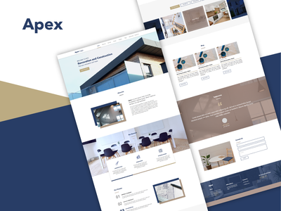 Apex Renovation & Construction Landing Page Design web designer ui designer ui design landing page concept landing page design landing page web design illustrator