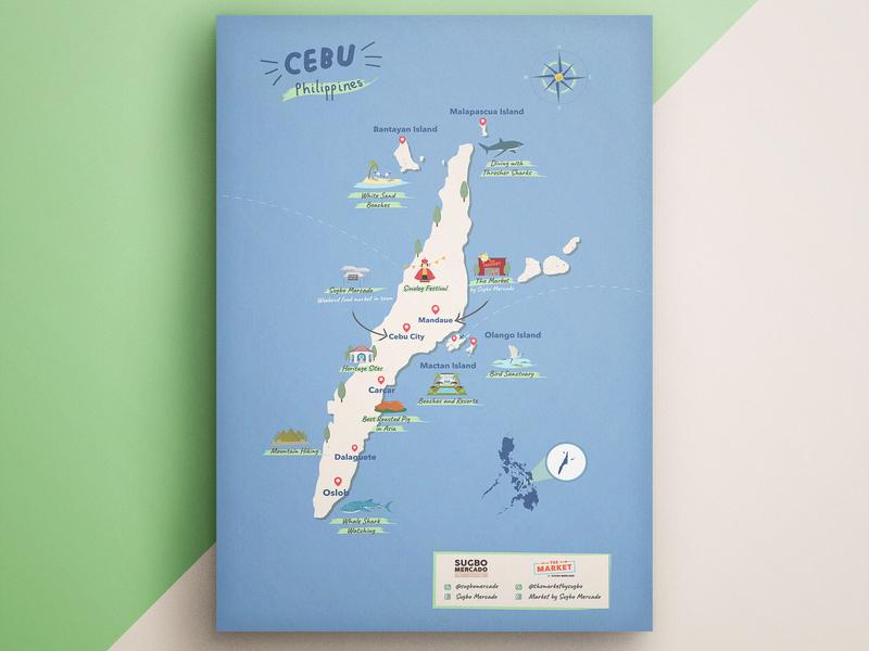 Poster Design for an AirBnb Unit (2018) poster design poster philippines local artist cebu map cebu art cebu branding design art artwork illustration illustrator graphic design
