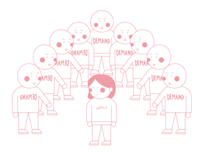 The Pink Lines: DemandS & Supply cute girl illustration artwork art illustration illustrator design graphic design