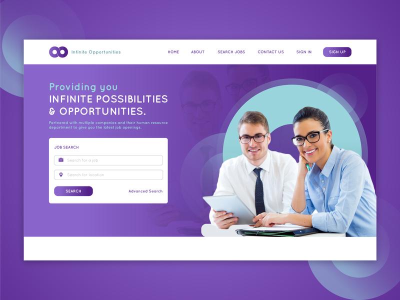 Infinite Opportunities job app corporate branding landing page design landing page web  design ux typography ui web designer ui designer design illustrator graphic design