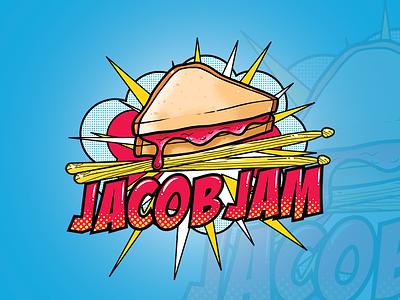 Logo Design for Jacob Jam drumsticks jam pop-art american band design logo