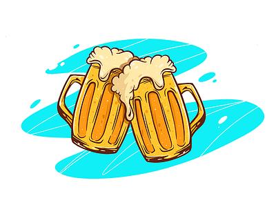 Beer drawing mug shades colors experimenting design beer illustration