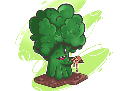 Cuute Broccoli Eating Pizza ilustration