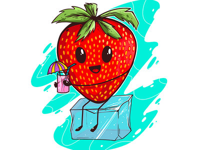 Strawberry chilling on ice cube illustration
