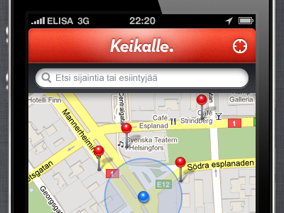 Keikalle. keikalle gig map location red iphone app