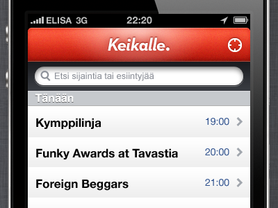 Keikalle. 2 keikalle gig map location red iphone app