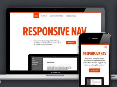 Responsive Nav white website responsive nav red