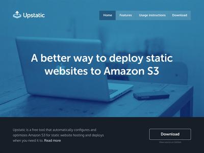 Upstatic blue responsive website frontpage amazon s3 amazon s3