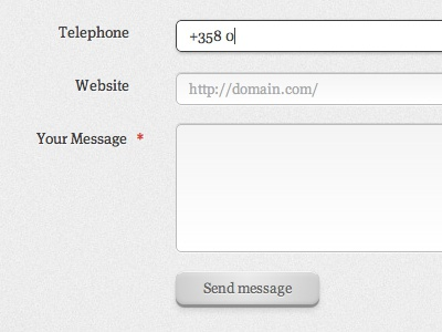 Send message minimal form grey button submit contact clean meta serif