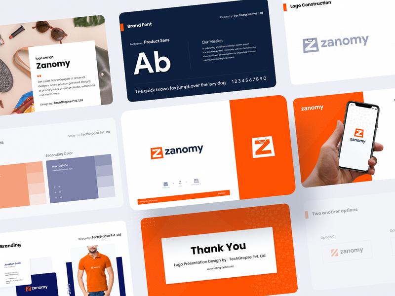 Zanomy logo design - Presentation presentation illustraion icon typogaphy logodesign branding