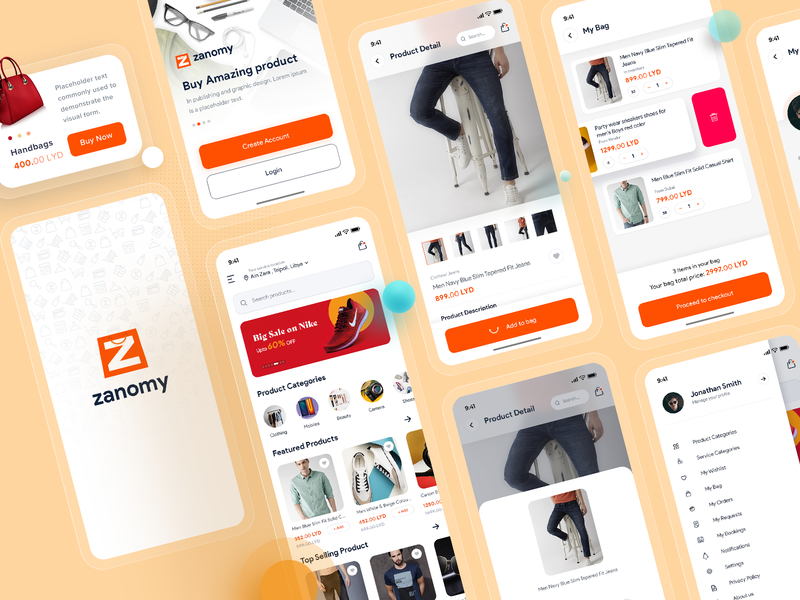 E-Commerce | Zanomy techgropse app concept uiux clean ui typogaphy shop product design minimal mobile clothes shopping ecommerce clean app add to cart