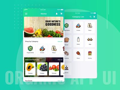 Organic Farm App UI ios android app design fruits vegetable cart card grocery list grocery app