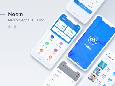 Neem | Medical App uiux ui clean app 2019 mobileappdesign android ios nearby hospitals career doctor app medical care medical app