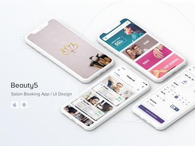 Beauty5 | Salon Booking App uiuxdesign design appui mobileappdesign clean app ios android barber beauty app service app booking salon salon booking
