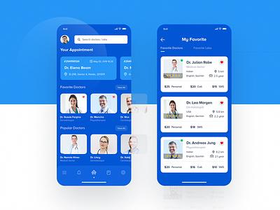 Doctor App ios android list favorite bluetheme details medical doctor medical app